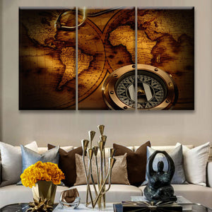Compass World Map Multi Panel Canvas Wall Art - World_map