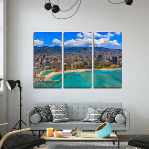 Waikiki Beach Multi Panel Canvas Wall Art - Beach