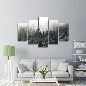 Cloudy Forest Multi Panel Canvas Wall Art - Nature