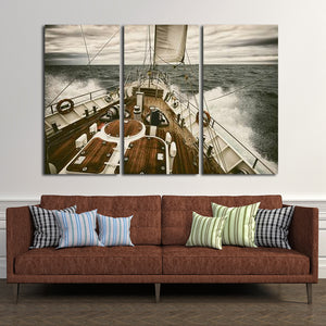 Yacht At Sea Multi Panel Canvas Wall Art - Boat