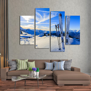 Down Hill Multi Panel Canvas Wall Art - Ski