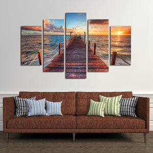 Into The Sea Multi Panel Canvas Wall Art - Beach