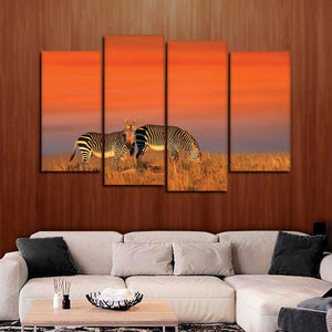 Zebras At Sundown Multi Panel Canvas Wall Art - Animals
