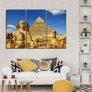 Sphinx In Giza Multi Panel Canvas Wall Art - Africa