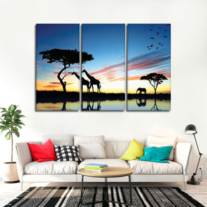 African Silhouette Multi Panel Canvas Wall Art - Africa
