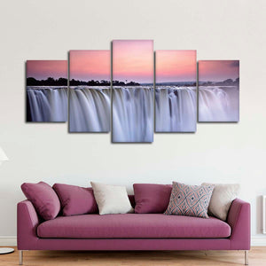 Sunset At Victoria Falls Multi Panel Canvas Wall Art - Nature