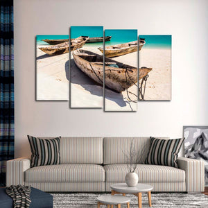 Tanzania Wooden Boats Multi Panel Canvas Wall Art - Boat
