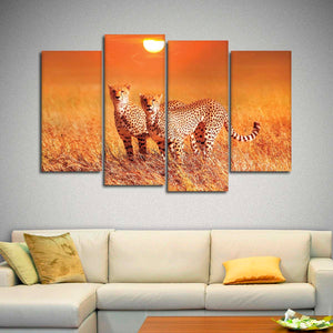 African Cheetahs At Sundown Multi Panel Canvas Wall Art - Animals