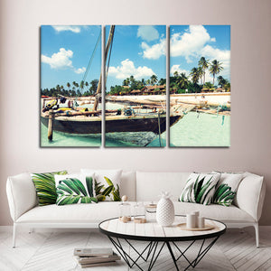 Wooden Boat In Paradise Multi Panel Canvas Wall Art - Boat