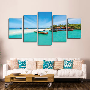 Exotic Zanzibar Multi Panel Canvas Wall Art - Boat