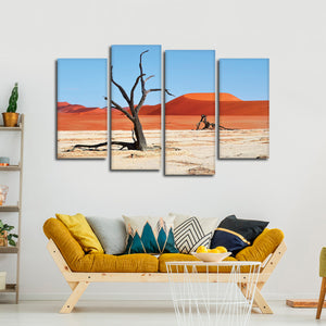Red African Dunes Multi Panel Canvas Wall Art - Africa