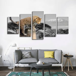 African Leopard Pop Multi Panel Canvas Wall Art - Jaguar