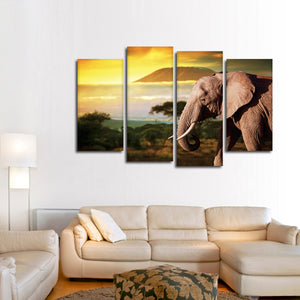 Kilmanjaro Elephant Multi Panel Canvas Wall Art - Elephant