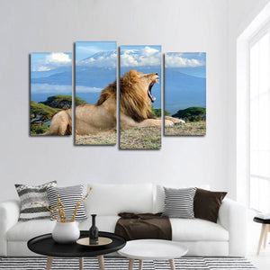 Roar Of A Lion Multi Panel Canvas Wall Art - Animals