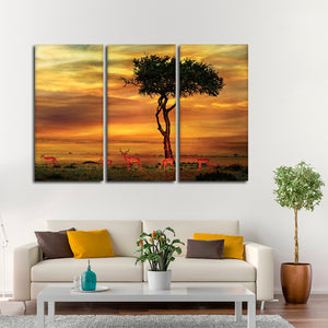 Impala African Sunset Multi Panel Canvas Wall Art - Africa