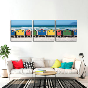 Colorful Bathhouses Multi Panel Canvas Wall Art - Beach