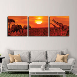 African Sunset Animals Multi Panel Canvas Wall Art - Africa