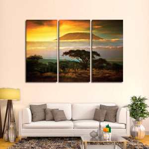 Beautiful Kilmanjaro Multi Panel Canvas Wall Art - Africa