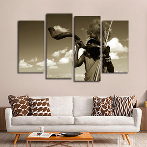Masai Warrior Sepia Multi Panel Canvas Wall Art - Africa