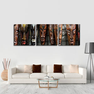 Handmade African Masks Multi Panel Canvas Wall Art - Africa
