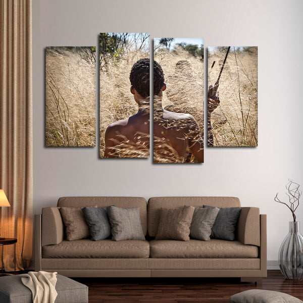 African Hunter Multi Panel Canvas Wall Art