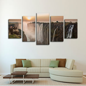Victoria Falls Sunset Multi Panel Canvas Wall Art - Nature
