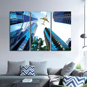 Flying High Multi Panel Canvas Wall Art - Airplane