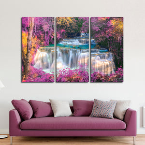 Tranquil Waterfall Multi Panel Canvas Wall Art - Nature