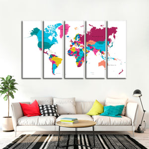 Multicolored World Map Multi Panel Canvas Wall Art - World_map