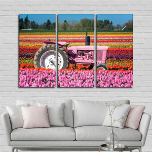 Vibrant Tulip Farm Multi Panel Canvas Wall Art - Flower