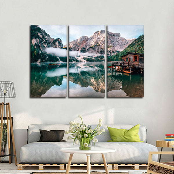 Braies Lake Multi Panel Canvas Wall Art