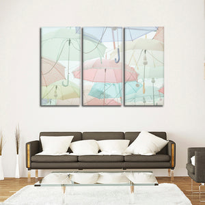 Pastel Umbrellas Multi Panel Canvas Wall Art - Color