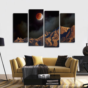Misty Eclipse Multi Panel Canvas Wall Art - Astronomy