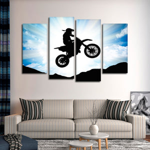 Motocross Rider Multi Panel Canvas Wall Art - Extreme