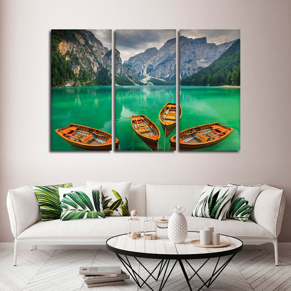 Alpine Lake Boating Multi Panel Canvas Wall Art