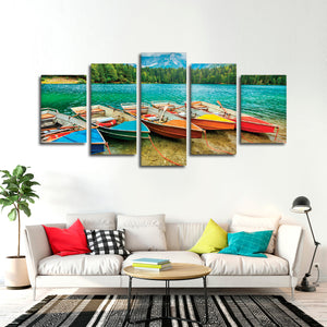 Rainbow Boats Multi Panel Canvas Wall Art - Boat