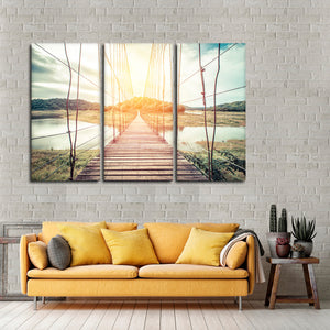 Wooden Rope Bridge Multi Panel Canvas Wall Art - Nature