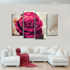 Textured Grunge Rose Multi Panel Canvas Wall Art - Flower