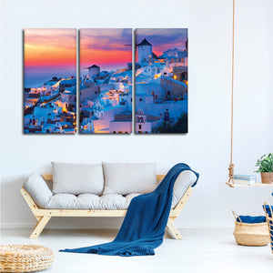 Sunset In Oia Multi Panel Canvas Wall Art - Village