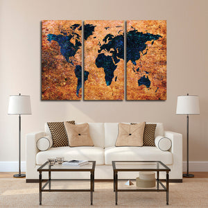 Aged Grunge World Map Multi Panel Canvas Wall Art - World_map