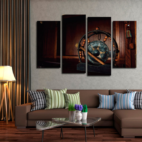Asian Authentic Gong Multi Panel Canvas Wall Art