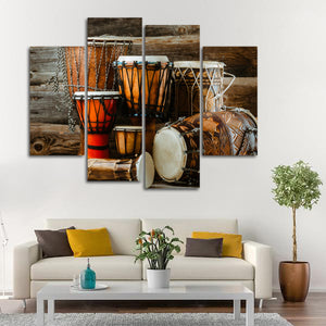 Bongo Drums Multi Panel Canvas Wall Art - Music