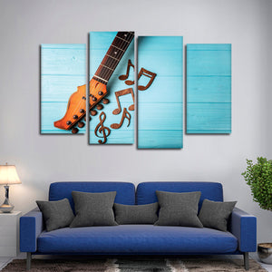 Language Of Music Multi Panel Canvas Wall Art - Guitar