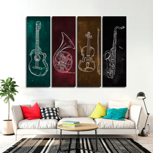 Musical Instruments Canvas Set Wall Art - Music