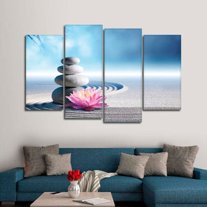 Balancing Stones Multi Panel Canvas Wall Art - Spa