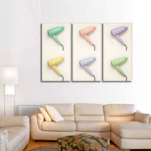 Multicolored Hairdryers Multi Panel Canvas Wall Art - Hair