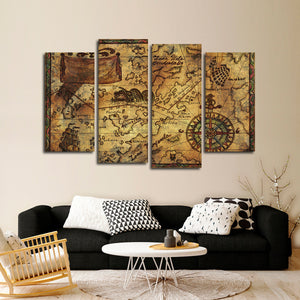 Treasure Map Multi Panel Canvas Wall Art - Gothic