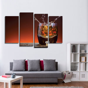 Splash Of Whiskey Multi Panel Canvas Wall Art - Whiskey