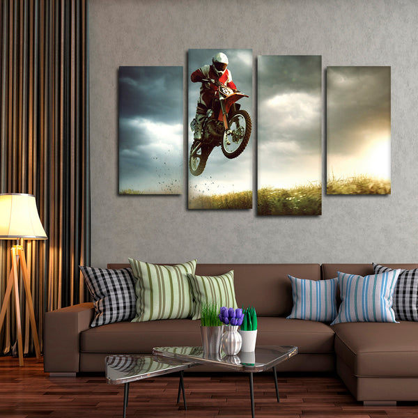 Biker Stunt Multi Panel Canvas Wall Art