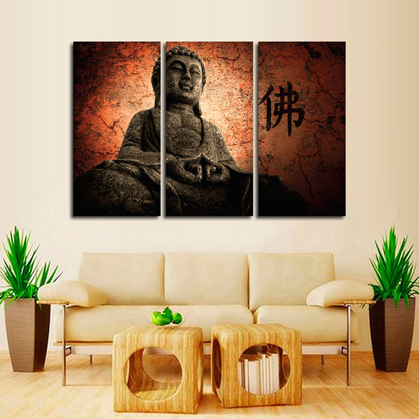 Chanting Buddha Multi Panel Canvas Wall Art